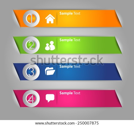 colorful modern text box template for website computer graphic technology and internet, numbers. ribbon - stock vector