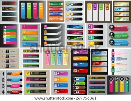 colorful modern text box template for website computer graphic technology and internet, numbers. Set of color frames for text or quotes. brochure. many, various - stock vector
