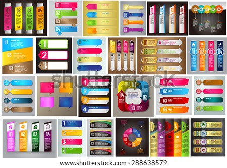 colorful modern text box template for website computer graphic technology and internet, numbers. Set of color frames for text or quotes. brochure. many, various. infographics - stock vector