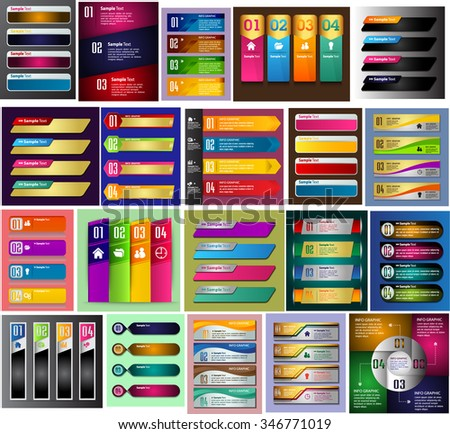 colorful modern text box template for website computer graphic technology business and internet, numbers. Set of color frames for text or quotes. brochure. many, various. infographics. - stock vector