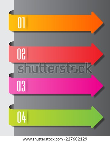 colorful modern text box template for website graphic and business. arrow  - stock vector
