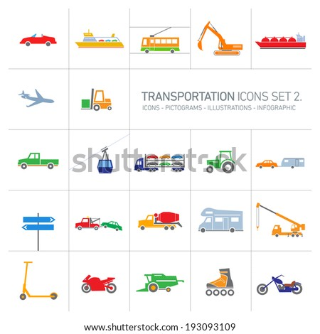 colorful modern vector flat design transportation icons and illustrations set islolated on white background - stock vector
