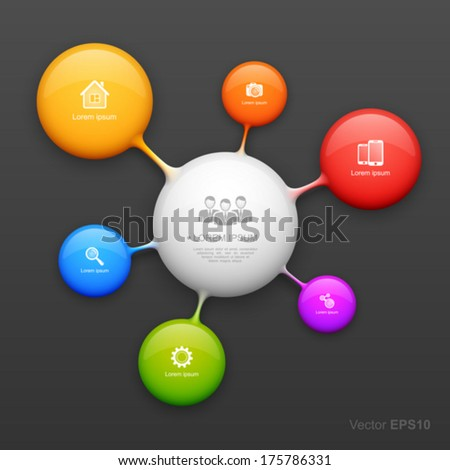 Colorful molecule design template. - stock vector