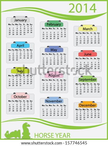 Colorful 2014 monday start calendar template on green frame. Easy to edit calender illustration with horse figures. Abstract isolated calendar vector design.  - stock vector