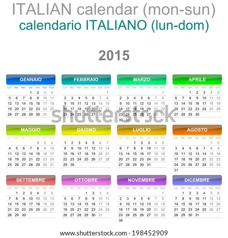Colorful Monday to Sunday 2015 Calendar Italian Language Version Illustration - stock vector
