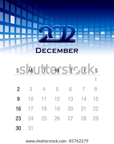 Colorful monthly vector calendar for 2012 with abstract background - stock vector