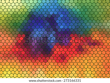 colorful mosaic composition with ceramic geometric shapes for your design  - stock vector