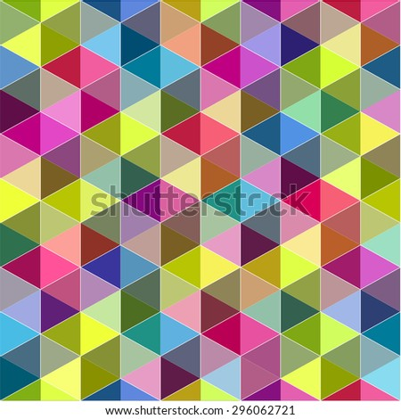 Colorful mosaic luminous futuristic background with dimensional geometric blocks, cubes and triangles - stock vector