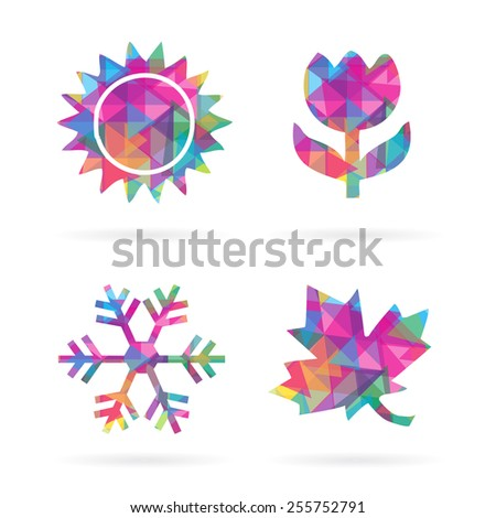 Colorful Mosaic Polygon Style Four Seasons Icons EPS10 vector, Isolate on White for all type of Communication arts - stock vector