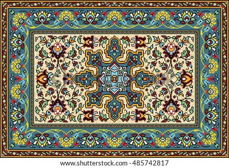 Colorful Mosaic Rug Classical Traditional Floral Stock