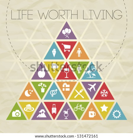 Colorful Motivational Icon Triangle Vector Illustration about Life - stock vector