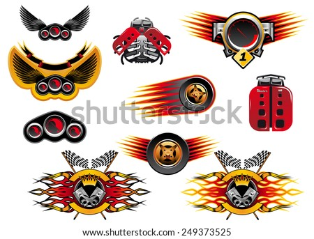 Colorful motor sport and racing icons with wheels with speed trails or flames, winged emblems and stylized mechanical lady birds - stock vector