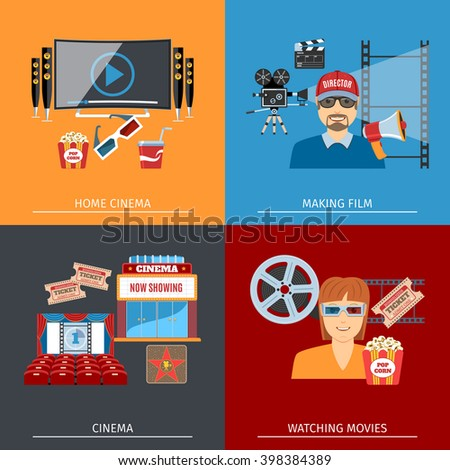 Colorful Movie Flat Concepts Set. Cinema. Making Film. Home Cinema. Watching movies. Cinema Objects And Web Elements Collection. Vector Illustration - stock vector