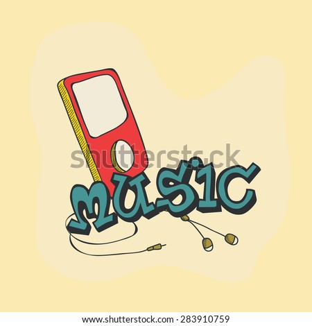 Colorful mp3 player with earphone for music concept. - stock vector