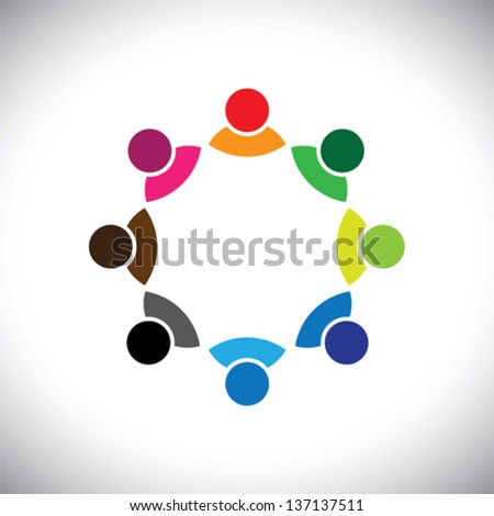 Colorful multi-ethnic corporate executive team or employee group. This vector graphic can also represent concept of children playing together or team meeting or group discussion, etc - stock vector