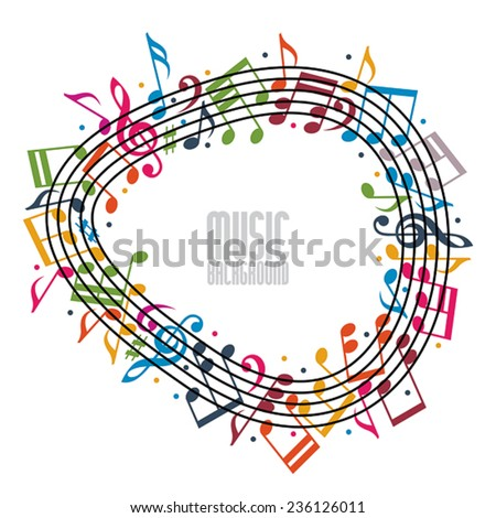Colorful music background with clef and notes and copy space in the center, music sheet in round frame, musical theme template for your design.