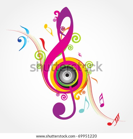 Colorful music background with fly clefs - stock vector