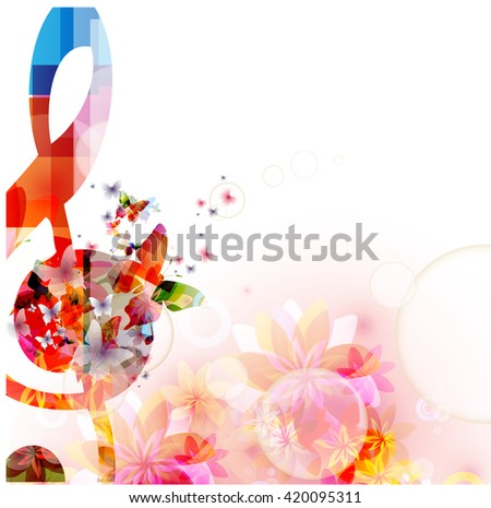 Colorful music background with G-clef and butterflies - stock vector