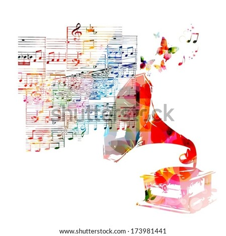 Colorful music background with gramophone - stock vector