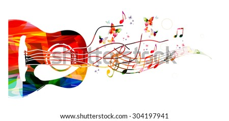 Colorful music background with guitar - stock vector