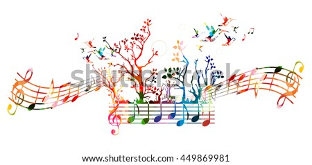 Colorful music background with music notes and hummingbirds - stock vector