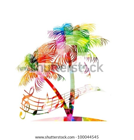 colorful music background with palm tree - stock vector