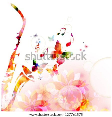 Colorful music background with saxophone. Vector - stock vector
