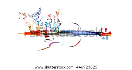 Colorful music background with violin and trees - stock vector