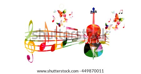 Colorful music background with violoncello and music notes - stock vector