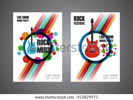 colorful music festival poster, cover design, isolated on white - stock vector