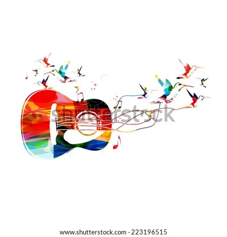 Colorful music guitar background - stock vector