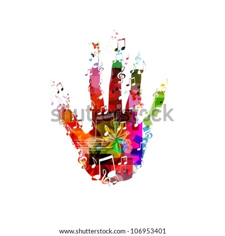 Colorful music hand vector - stock vector