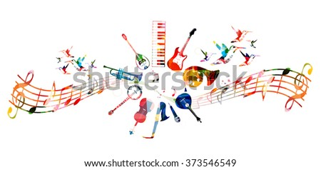 Colorful music instruments design - stock vector