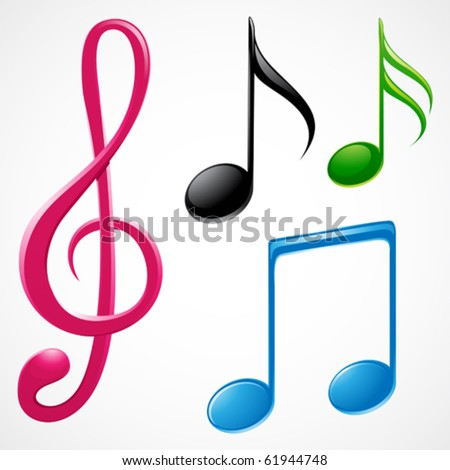 colorful music note - stock vector