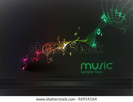 Colorful Music notes for design use, vector illustration - stock vector