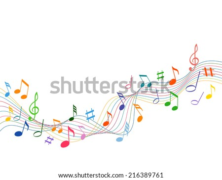 Colorful music notes on a solid white background - stock vector