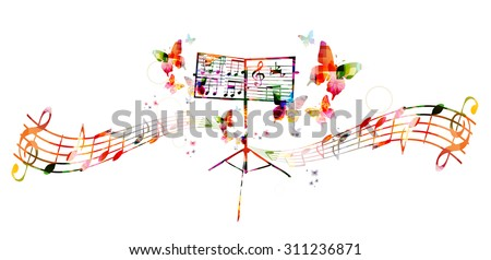 Colorful music stand with butterflies - stock vector