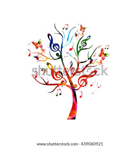 Colorful music tree with music notes and butterflies - stock vector