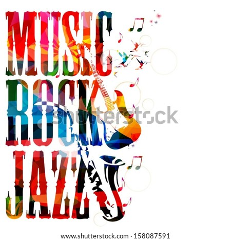 Colorful music vector background with hummingbirds. - stock vector