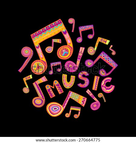 Colorful music word and notes fill a circle shape. Black background. Vector illustration.