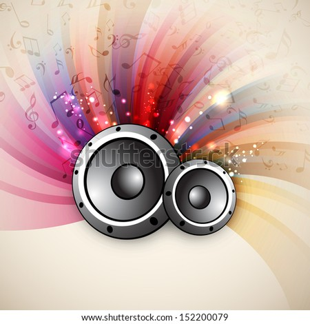 Colorful musical background with speakers and musical notes, can be use as flyer, poster or banner in music concept and parties.  - stock vector