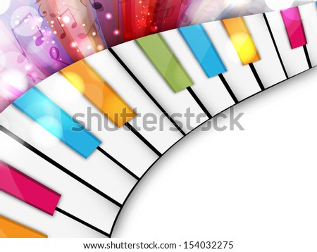 Colorful musical concept with piano, can be use as flyer, poster, banner or background for musical parties and concert.  - stock vector