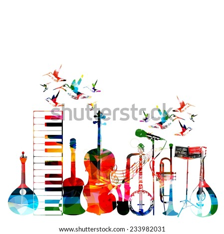 Colorful musical instruments background - stock vector