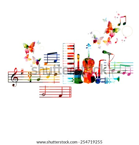 Colorful musical instruments design - stock vector