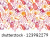 Colorful musical instruments horizontal seamless pattern border - stock photo