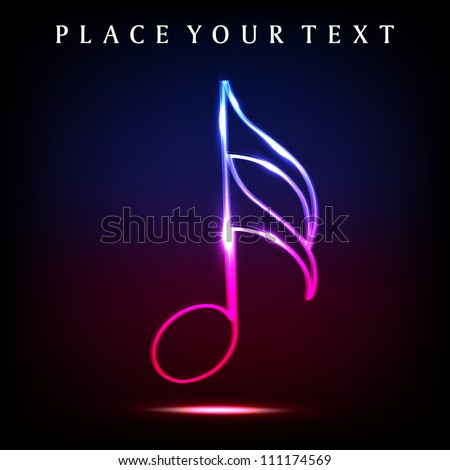 Colorful musical note with neon effect. EPS 10. - stock vector