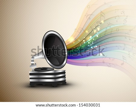 Colorful musical notes coming out from gramophone.  - stock vector