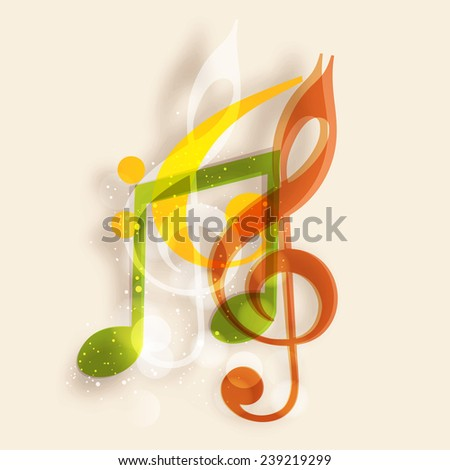 Colorful musical notes on beige color background. - stock vector