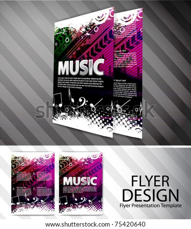 Colorful Musical theme vector Flyer with circles and splash, Editable Illustration - stock vector