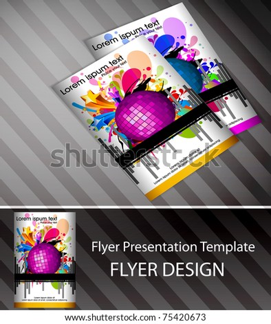 Colorful Musical theme vector Flyer with circles and splash, Editable Illustration